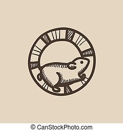 Hamster running in the wheel sketch icon.