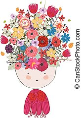 Doodle flowers beautiful girl face