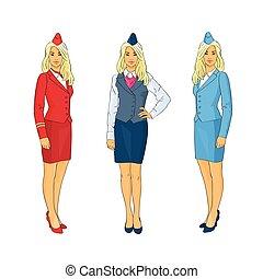 Stewardess Wear Uniform Set Airline Crew Flat Vector...