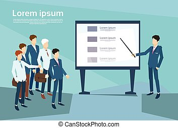 Business People Group Presentation Flip Chart Finance, Team Training Conference Meeting