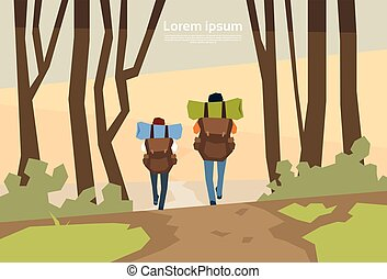 Traveler Couple Hikers With Rucksack Rear View Nature...