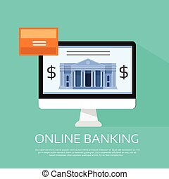 Online Banking Internet Electronic Payment Computer Monitor...