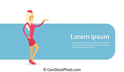 Stewardess In Uniform Open Palm To Copy Space Flat Vector...