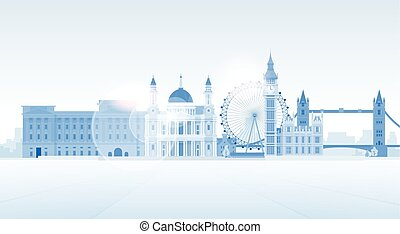 London Silhouette English City View Copy Space Flat Vector...