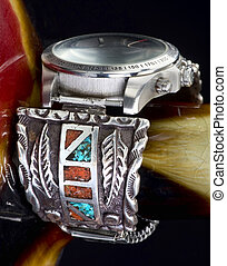 Navajo Watch Cuff. - Old Navajo silver watch cuff with...