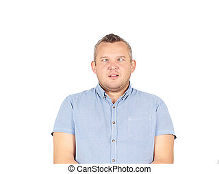 Cross-eyed man, funny faces.Isolated on white background.
