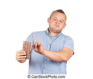 gorda, homem, refuses, Para, chocolate.,