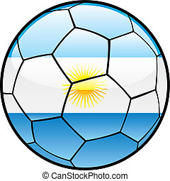 flag of Argentina on soccer ball