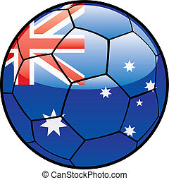 flag of Australia on soccer ball