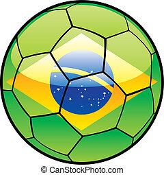flag of Brazil on soccer ball