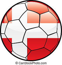 flag of Denmark on soccer ball - fully editable vector...
