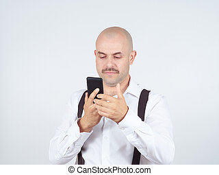 Man reading sms on your smartphone Emotions
