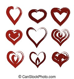 painted heart set vector