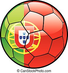 flag of Portugal on soccer ball - fully editable vector...