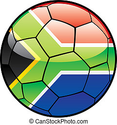 flag of South Africa on soccer ball