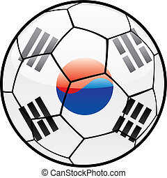 flag of South Korea on soccer ball - fully editable vector...