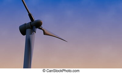 Rotating wind generator against sunset blue and pink sky 4K...
