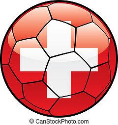flag of Switzerland on soccer ball