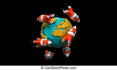 mundo, papel, foguetes, ao redor