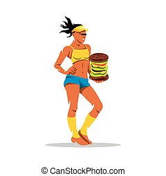 Vector Hungry Sports Woman Cartoon Illustration - Girl and...