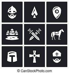 vector, protector, Conjunto, guerrero, caballero, cruz, iconos, espadas, cruzado, bosque, lanza, hielo, lago, batalla, cruzado, sacerdote
