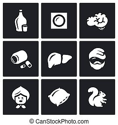Vector Set of Alcohol Addiction Icons. Hooch, patch, brain,...