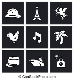 Vector Set of France Icons. Army, Paris, Eiffel Tower,...