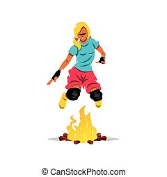 Vector Jumping Fire Cartoon Illustration - Girl jumping over...