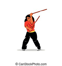 Vector Krav Maga Man Cartoon Illustration. - Man brandishing...