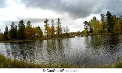cloudy autumn day over the lake. Russia ,