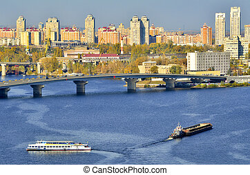 View of Kiev from an bridge over the Dnieper. Ukraine