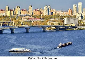 View of Kiev from an bridge over the Dnieper. Ukraine