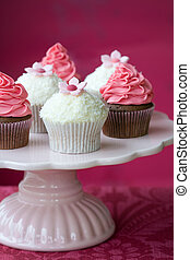 Cupcakes - Pink and white cupcakes on a cakestand