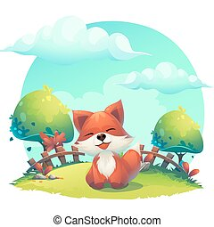 Fox in the grass - a childrens cartoon illustration -...