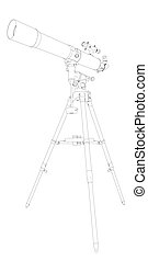 tel - 3D illustration of a telescope, isolated on white...
