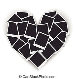 Piled blank photo frames in a heart shape
