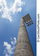 Floodlight with bounce panel for light, installed on an...