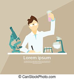 Scientist Working Research Chemical Laboratory Flat Vector...