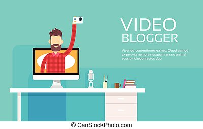 Man Blogger Hold Camera Video Computer Blogging Concept -...