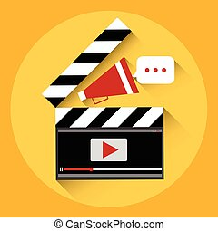 Clapper Video Player Online Streaming Concept Flat Vector...