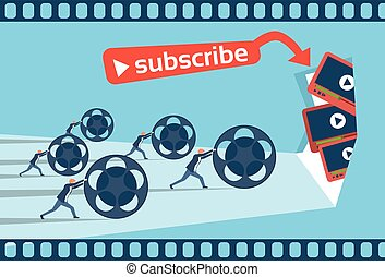 People Blogger Video Blog Concept Flat Vector Illustration