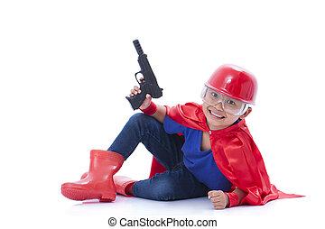 ありなさい,  superhero, ふりをすること, 子供