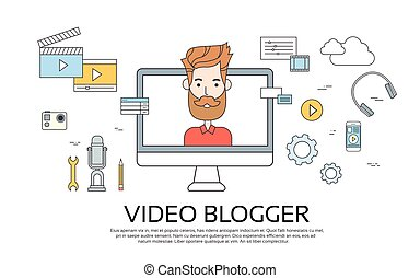 Man Blogger Video Computer Blogging Concept Flat Vector...