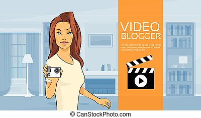 Woman Blogger Hold Camera Video Blog Concept Home Interior...