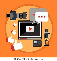 Modern Video Blog Banner Blogging Concept Flat Vector...