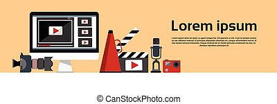 Video Blogging Concept Horizontal Banner Flat Vector...