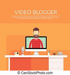 Man Blogger Video Computer Blogging Concept - Man Video...