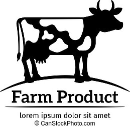 Cow logo emblem - Cow logo. Emblem of cow in a meadow vector