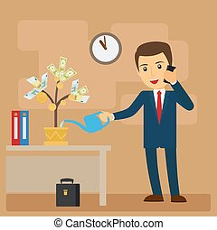 Business investment concept Businessman watering tree of...