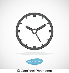 Clock Icon - Isolated Vector Illustration. Simplified flat...
